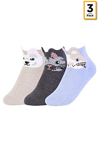 Women's Premium Cozy Picot Animal Anklet Socks W/Grippers (3-Pairs) (9-11, Assorted2)