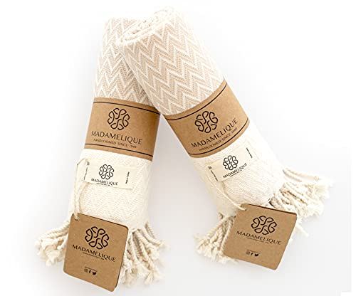 Madamelique Exclusive Hand Towels Set of 2 - 18 x 40 Inches - Decorative Bathroom Peshtemal Towel for Hand, Face, Hair…