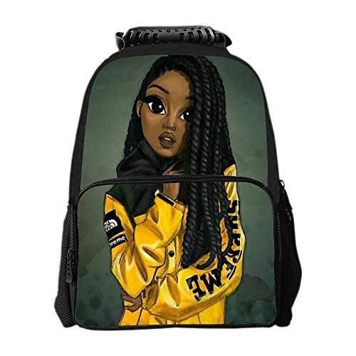 SARA NELL Kids Zipper School Backpack Black Art African American Girl Afro Girls Book Bag For Boys -