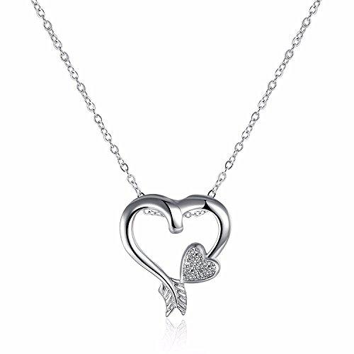 Open Heart Love Arrow Pendant Necklace For Women Teen Girls Prime Jewelry Gift