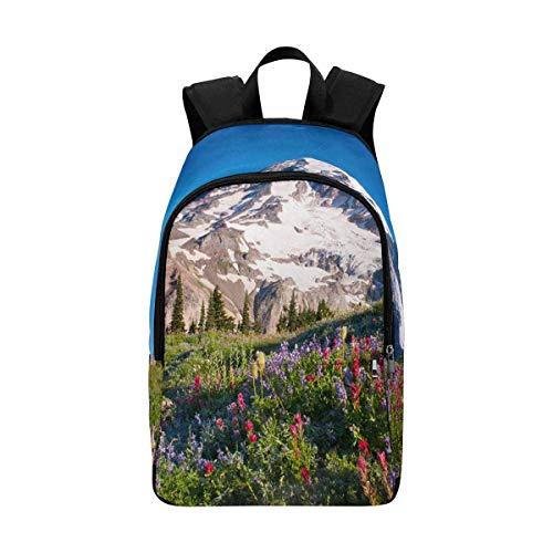 InterestPrint Mt Rainier National Park Wildflowers Summer Time Cascade Mountain Wilderness Casual Backpack School Bag Daypack