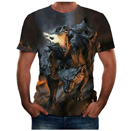 T Shirt 3D Animal Colorful Cool Printing Graphic Tee Shirts Summer New Full Plus Size Top Blouse for Men (XXXL,29- Gray)