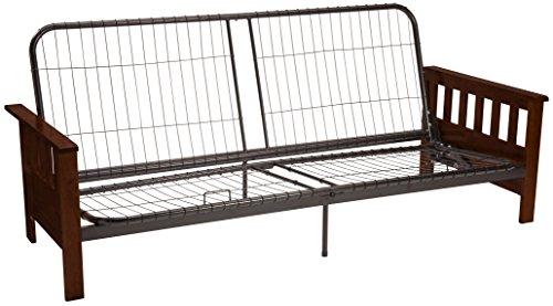 (Berkeley Mission-style Futon Sofa Sleeper Bed Frame, Queen-size, Walnut Arm Finish)