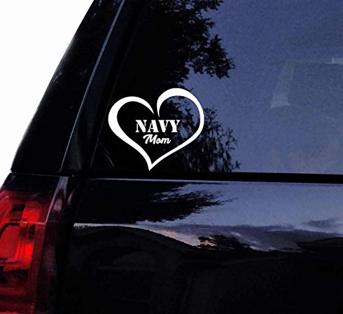 CELYCASY Navy MOM Love Decal Sticker - Military Mom Heart Sailor Vinyl Car Decal, Laptop Decal, Car Window Wall Sticker Navy
