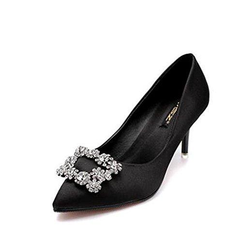 L@YC Frauen High Heels Side G¨¹rtelschnalle Diamant Spitze Schuhe Hochzeit B¨¹ro & Karriere / Schwarz / Pink / Red Black
