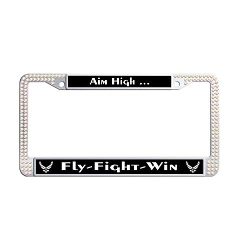 Hensonata Bling Glitter Rhinestone License Plate Frames, US Air Force Motto Aim High Fly Fight Win Colorful Waterproof Glitter Rhinestones Crystal License Frames Plate with Screws Caps -