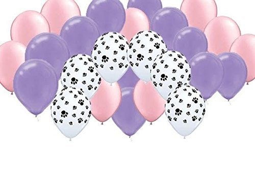 Girl Pups Party Balloons - Pink, Purple, Paw Print (30)