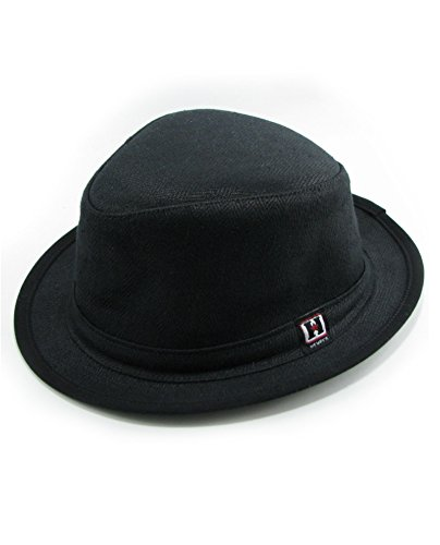 Hemp Fedora Hat (Black, x-Large)
