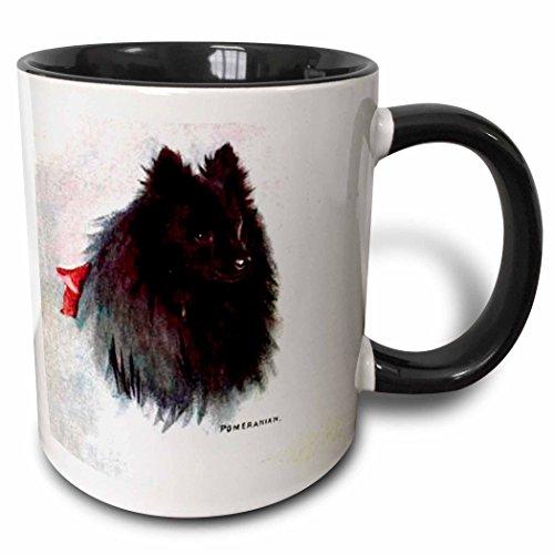 3dRose 3dRose Black Pomeranian - Two Tone Black Mug, 11oz (mug_940_4), Black/White