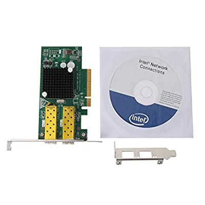 Tebatu Gigabit Ethernet Network Optical LAN Card Converter PCIE Dual Port 10G Optical Network Card for Intel 82599 Chip