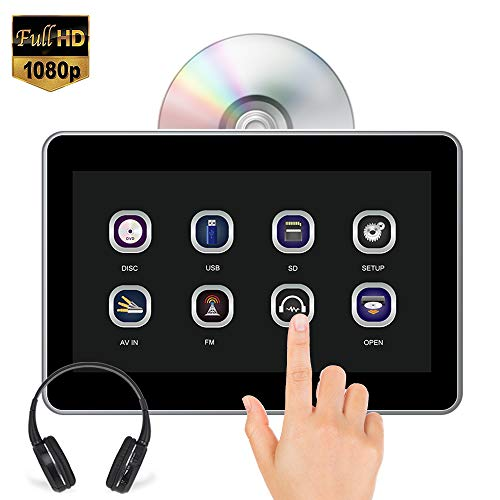 "AUTOWINGS 10.1"" Car Headrest DVD Player Touch Screen with IR Headphone, Support 1080P Video, Region Free, Sync Screen, USB SD FM Transmitter Wireless Game"