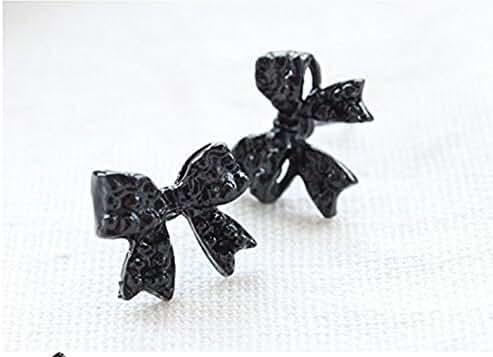 kathy Store INC 1 Pairs Fashion Cute Black Bowknot Bow Tie Stud Earring