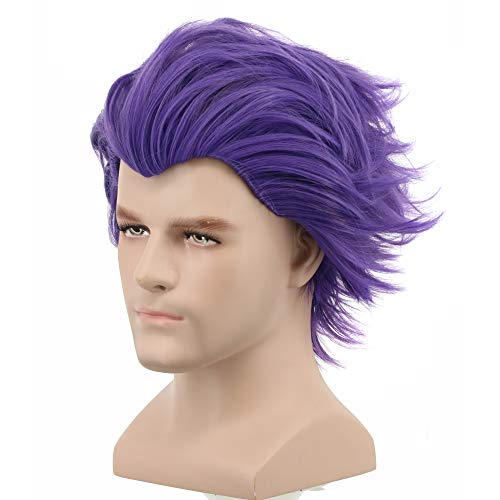 (Yuehong Short Purple Wig Men Party Wig For Cosplay Costume Halloween Hair)