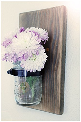 Rustic Mason Jar Wall Vase | Dark Walnut Stain - Cottage Garden Wall Vase