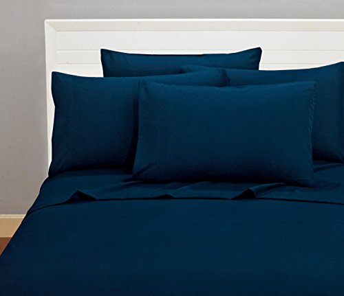 Bellerose Microfiber Sheets Quality Bedding 1800 Series 6 Piece Classic Soft Bed Linens Deep Pocket Fitted Sheet, Bonus 4 Pillow Cases, Add A Elegant Touch To Your Bedroom - King, Navy