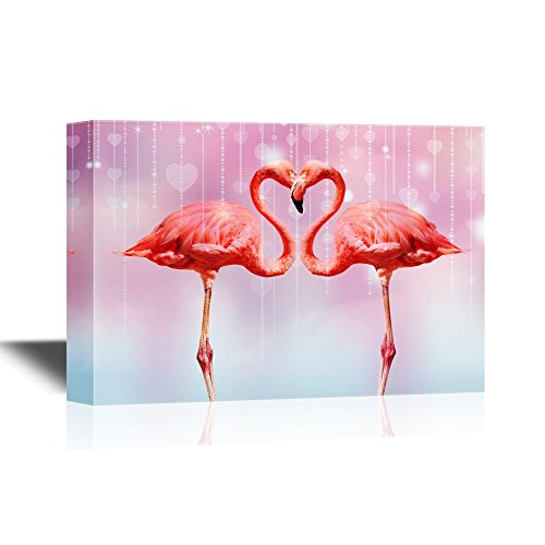 wall26 - Canvas Wall Art - Two Flamingoes standing face to face forming a love heart shape - Gallery Wrap Modern Home Decor | Ready to Hang - 12x18 - Shape Face Heart
