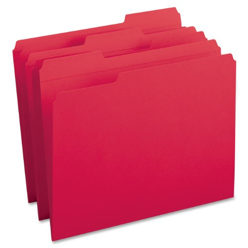 Smead File Folder, Reinforced 1/3-Cut Tab, Letter Size, Red, 100 per Box (12734) ()