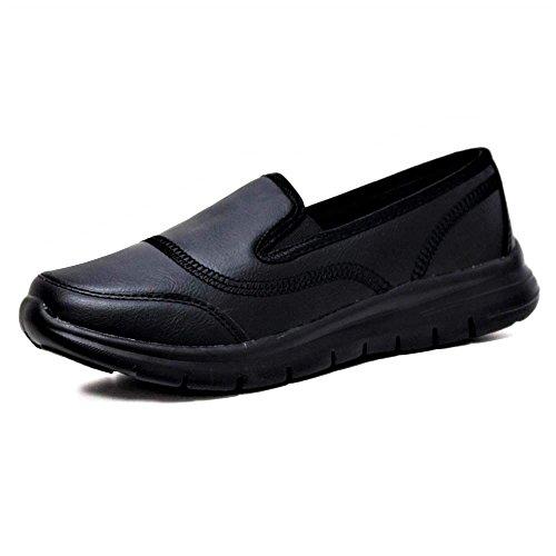 Ladies Flexi Surf Comfort Plimsoll Casual Walk Pumps Sports Trainer Holiday Go Shoes Size 4-8 Black Pu jQjWZNiT