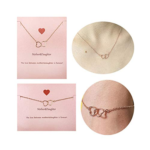 - Your Always Charm Mother Daughter Necklace Bracelet,Two Interlocking Infinity Double Circles Jewelry Set (Rose Gold Gold Heart to Heart Necklace and Bracelet)