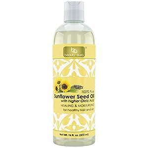 Beauty Aura Sunflower Oil - 16 fl oz (473 ml) - For Healthy Hair, Skin & Nails.