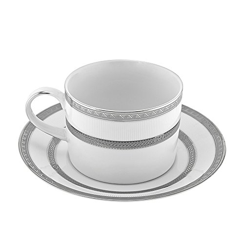 10 Strawberry Street Sophia 8 Oz Can Cup and Saucer, Set of 6, White/Silver