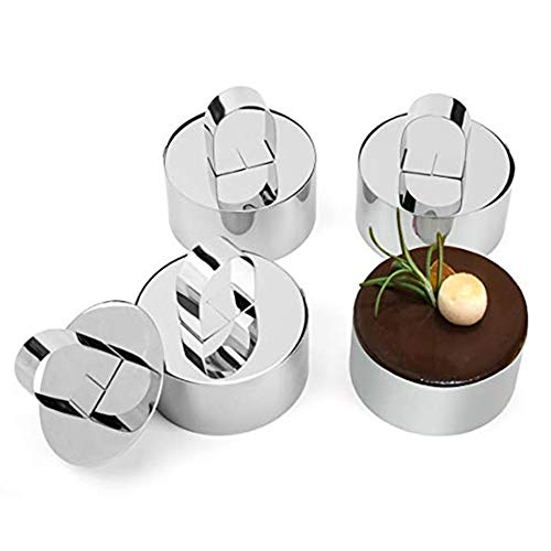 Gyswshh 4Pcs/Set Small Food Pastry Mousse Cake Mold Round Form Rings Biscuit Fondant Die Silver