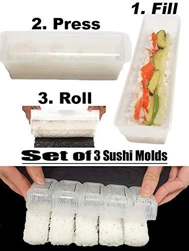 Sushi making kit, easy to use Set of 3! Rectangular and Round Rice molds for making Sushi, Maki, Nigiri, or Sashimi | Sushi tools, Rice press
