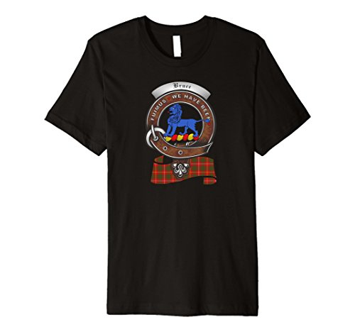 Bruce Scottish Clan Badge T-Shirt with Tartan (Bruce Clan Tartan)