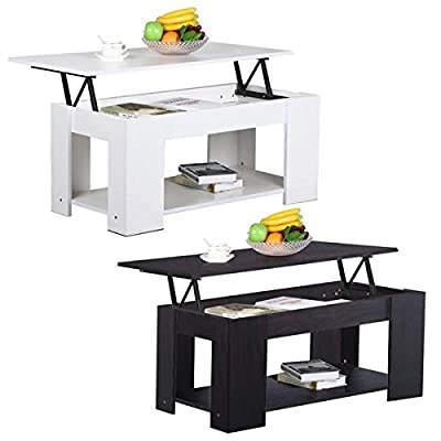 Yaheetech Grade E1 MDF & Iron Lift-up Top Coffee Table w/Hidden Storage Compartment & Shelf