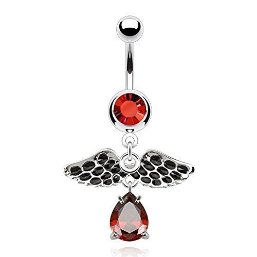 Piercing bijou nombril aile vintage pierre goutte rouge strass pendant original