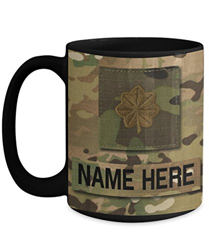 US Army Major (MAJ), O4 Mug - Personalized - Customize with Name/Text/Rank; 15 oz Cup - Gift for Veteran, Dad, Husband, Mom, Wife, Brother, Sister, Son, Daughter