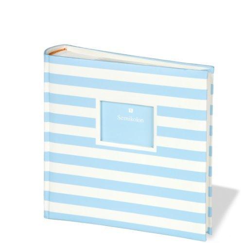 Semikolon 200 Pocket Bound Photo Album, Stripes, Blue/Cream (0425587)