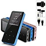MP3 Player - HonTaseng Portable Metal Touch Button Music Player With Armband, Lossless Sound 30 Hours Playback Build-In Speaker With FM Radio And Voice Recorder, Expandable 64GB SD Card-Blue
