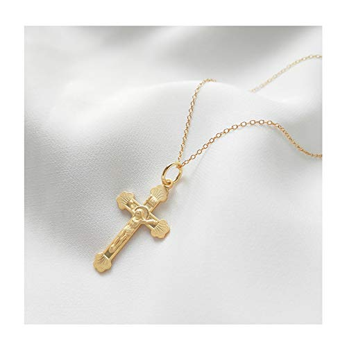 VACRONA Gold Cross Pendant Necklaces,18K Gold Filled Bless Catholic Christian Charm Dainty Handmade Embossed Faith Crucifix Religion Medal Pendant Necklaces for Women