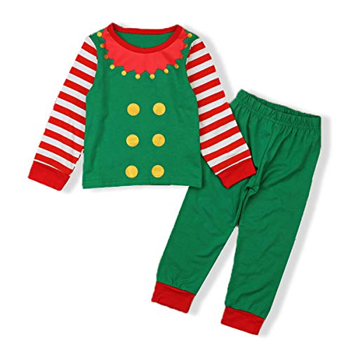 AR-LLOYD Christmas Pajamas Sets Unisex Kids Elf Long Sleeve Stripe T-Shirt with Long Pants Sleepwear Outfits (Green, 110/3-4y)