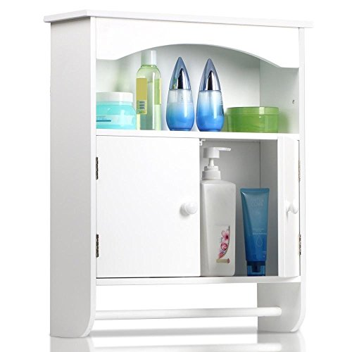 Topeakmart White Wood Bathroom Wall Mount Cabinet 2 Door Toilet Medicine Storage Organizer Full Size Bar Shelf (Medicine Cabinet With Towel Bar)