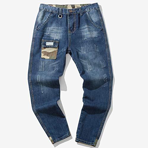 Ocasionales Jeans Vaqueros Wash Vendimia de de de algodón Pantalones ...