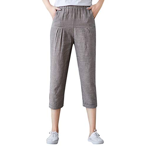 (gugs Women Casual Striped Print Trousers Pants Trousers Ladies Loose Pants Plus Size Leggings with Inner Pockets Stripe Pants (XXXL, Gray))