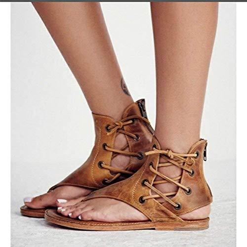 Sandales B Mode Sandales Tongs Bouts Minetom Plat Femme Plates Femmes Été Marron Ouverts Lacets Chaussures Sandales dHnRwqF