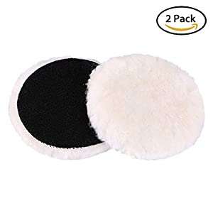 5-Inch Wool Polishing Pads - LotFancy Car Auto Velcro Buffing Pads, Used with Rotary and Random Orbit Sander/Polisher, Pack of 2