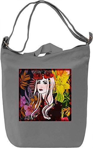 Flower Woman Borsa Giornaliera Canvas Canvas Day Bag| 100% Premium Cotton Canvas| DTG Printing|