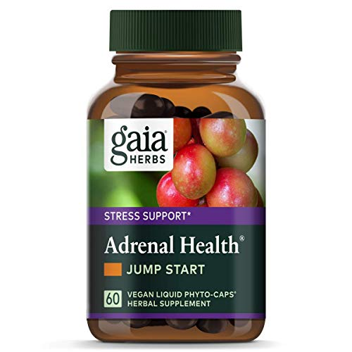 Gaia Herbs Adrenal Health Jump Start, Adrenal Fatigue Supplement for Mood Support and Optimal Energy with Rhodiola, Ginseng, Cordyceps, Vegan Liquid Capsules, 60 Count