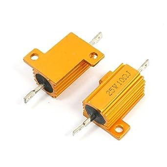 2 Pcs oro Tone Axial Carcasa de aluminio Clad Resistor 25W ...
