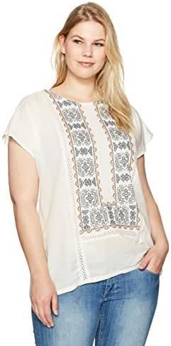 Lucky Brand Women's Plus Size Embroidered Mix Top