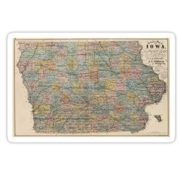 - Lancy's Artwork Vintage Map of Iowa (1875) - 4x4 - State Love Sticker