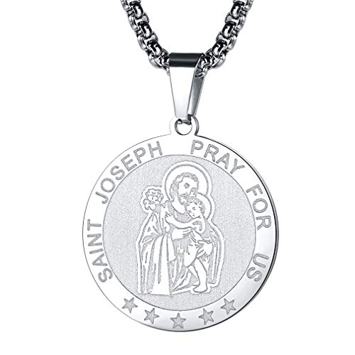 Patron Saint Medal Pendant - FaithHeart Saint Joseph Necklace Stainless Steel Catholic Patron Saint Medal Pendant Jewelry (Silver/Round)