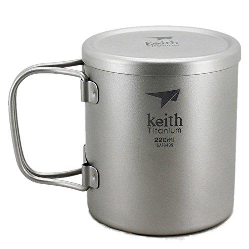 Keith ti3351New doppelwandig Titanium Becher Camping Tasse Wasser Tasse 220ml 83g KS813