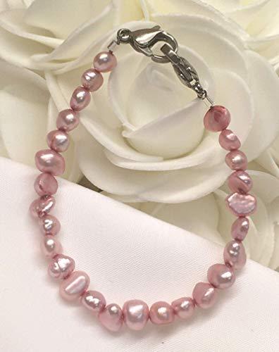 Pink Genuine Freshwater Baroque Pearl Medical Medic ID Alert Replacement Bracelet! (MA058)