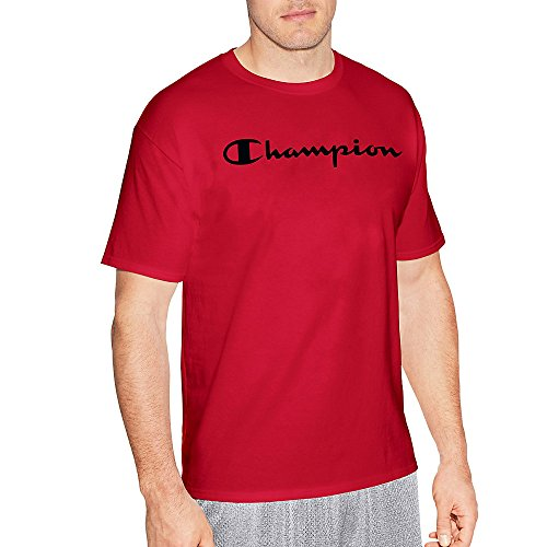 Friends Red T-shirt - Champion Men's Classic Jersey Script T-Shirt, Athletic Red, L