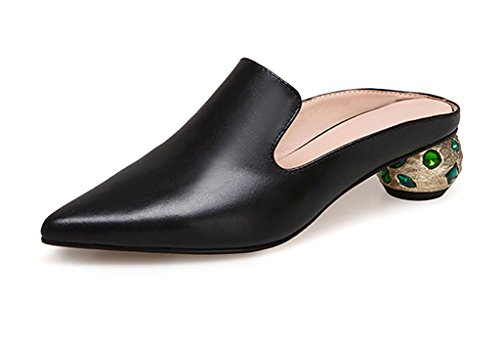 Mid Pointed No Drag Baotou Wear Half and Sandals Fashion Slippers Leather Ms Outer ZCJB Heel Black Heel Slippers nfzSSRw8Bq